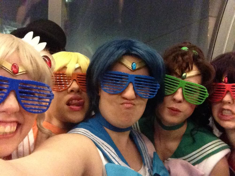 WeeabooRiot as Sailor Mercury with Sailor Moon group at Youmacon