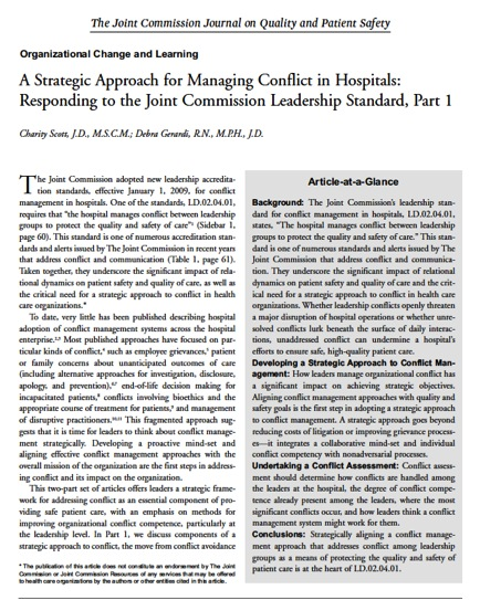 A Strategic Approach for Managing Conflict- Part 1