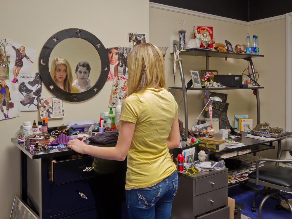 "Ashley at her Dresser, archival digital pigment print, 30x40"""