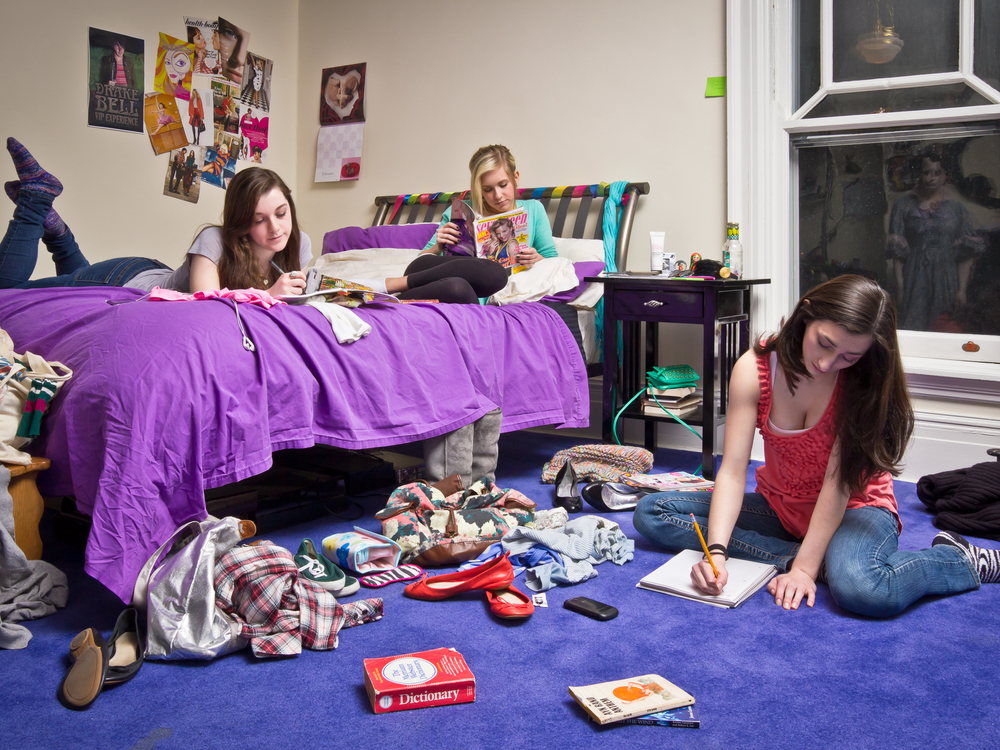 """Ashley in her Bedroom with Friends, archival digital pigment print, 30x40"""""""