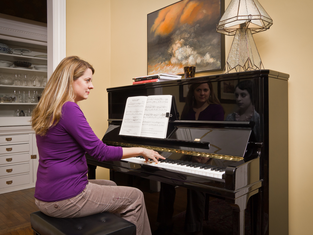 "Sarah at the Piano, archival digital pigment print, 30x40"""