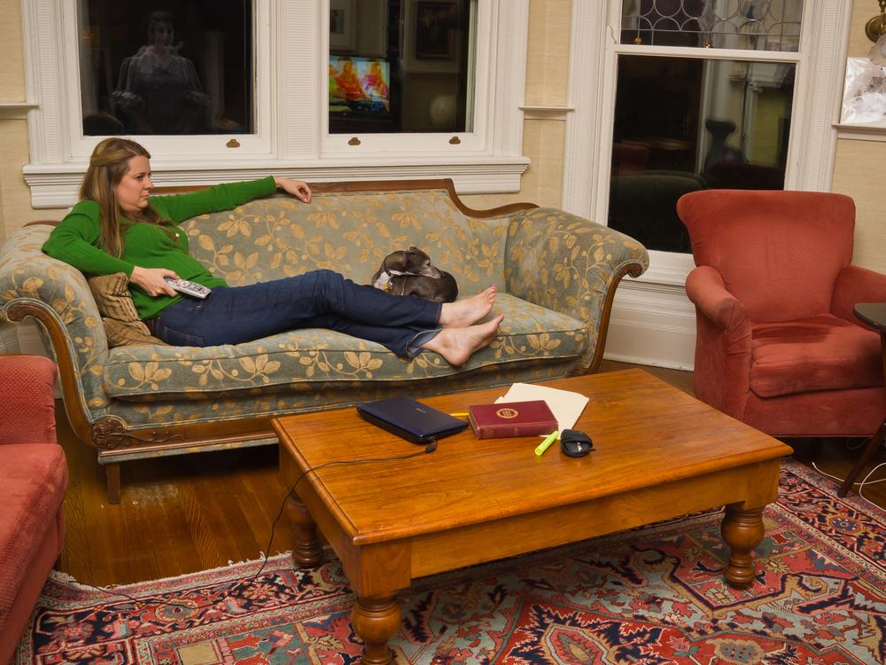 "Sarah Watching TV, archival digital pigment print, 30x40"""