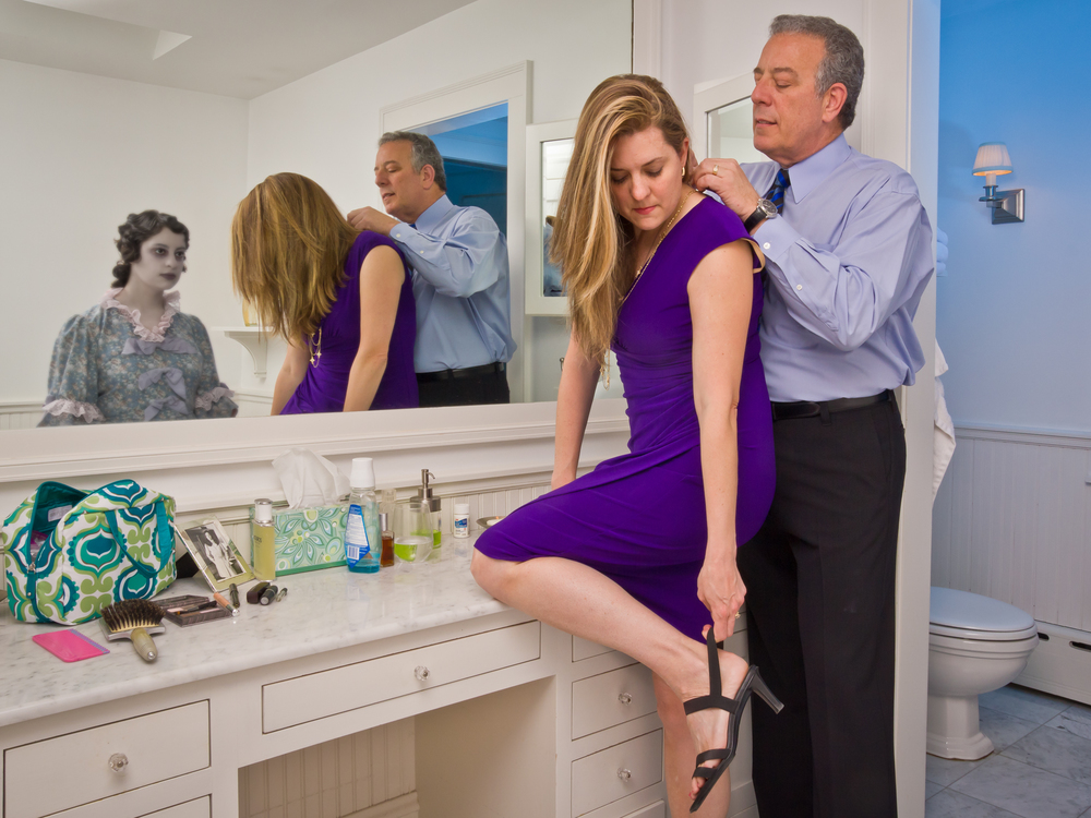 """Sarah and John Getting Ready for a Night Out, archival digital pigment print, 30x40"""""""