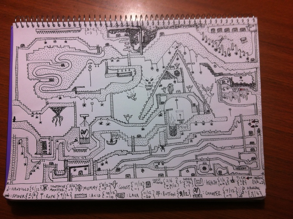 The completed maze. The player(s) start at the middle left.