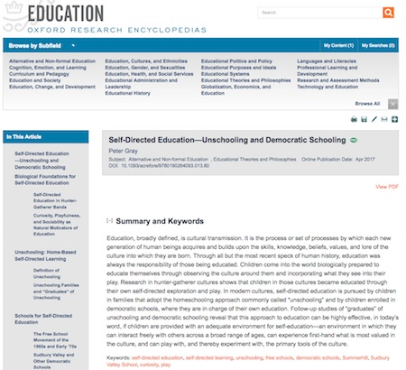 Self-directed eduacation entry Oxford Edu Encycl