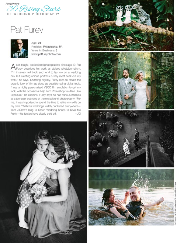 "Named one of ""30 Rising Stars of Wedding Photography"" by Rangefinder Magazine"