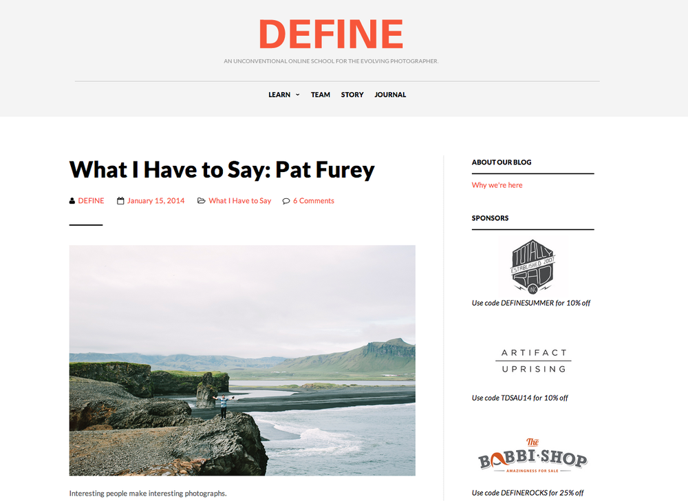 """What I Have to Say: Pat Furey"" featured on The Define School"