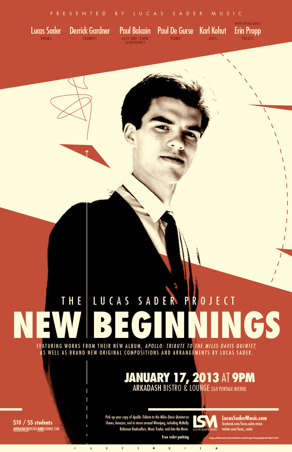 Poster for New Beginnings. Designed by John Funk of Underscorefunk Design. Photography by Karl Kohut.