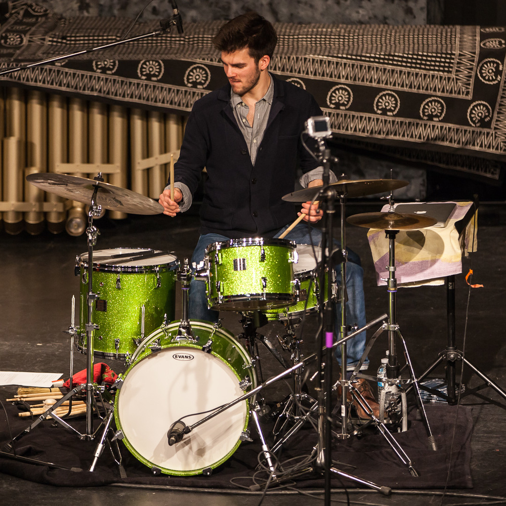 Lucas Sader  performing at the  2014 Winnipeg DrumTalk Festival . Photo credit:  Matt Duboff .