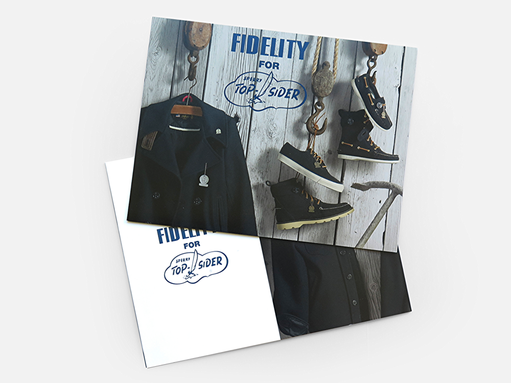 Mailer to celebrate collaboration between Fidelity peacoats and special line of shoes using peacoat fabric