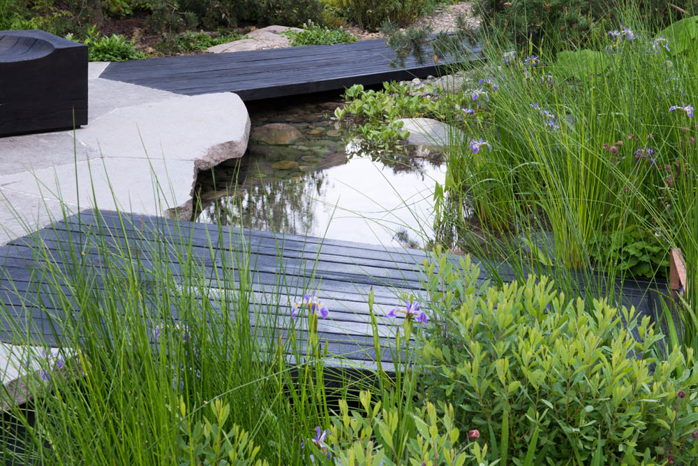 Photographer: Heather Edwards  - Black wooden bridges over pools of water with Iris sibirica - The Royal Bank of Canada Garden, RHS Chelsea Flower Show 2017 - Designer: Charlotte Harris - Sponsor: Royal Bank of Canada