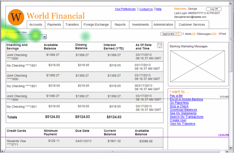 After: Wireframe Customer Accounts logged in view