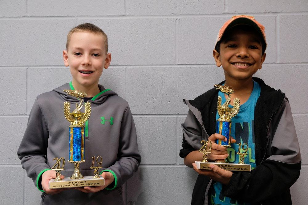 Derby Winners 1st - 3rd Grades Logan Weaver, Cedar Hill and Dominic Lindahl, Springfield