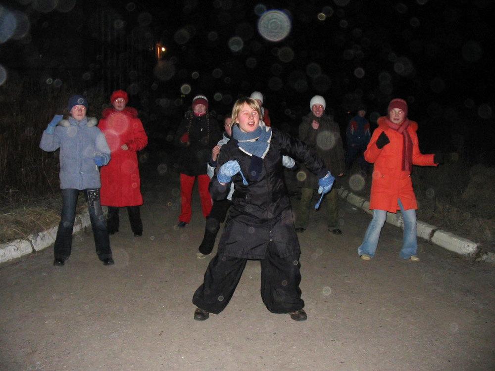 Evening activity, dance to keep warm