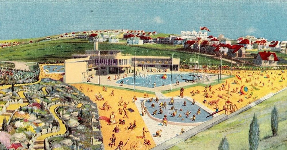 An early illustration depicting the - Californian inspired - resort pool's artificial beach. To download Saltdean Lido's comprehensive history document, 'Temple to the Sun', please click the image.