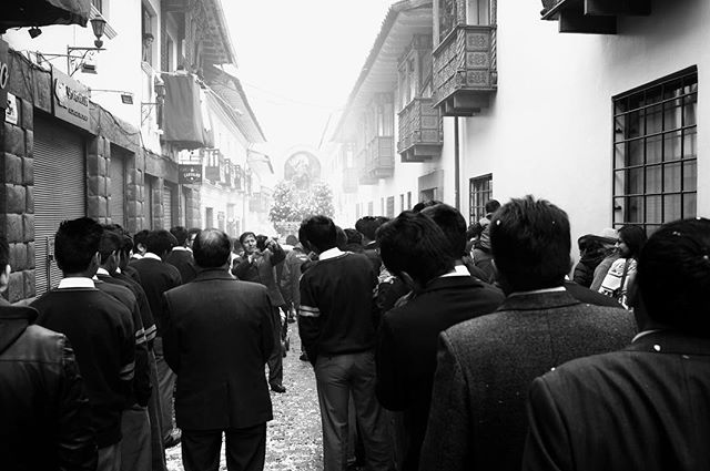 Señor de los Milagros (Lord of Miracles) Cuzco, Peru . . . . . #peru #religion #senordelosmilagros #faith #travel #wanderlust #rei #potd #blackandwhitephoto #fujifilm #x100f  #fujifilmx100f