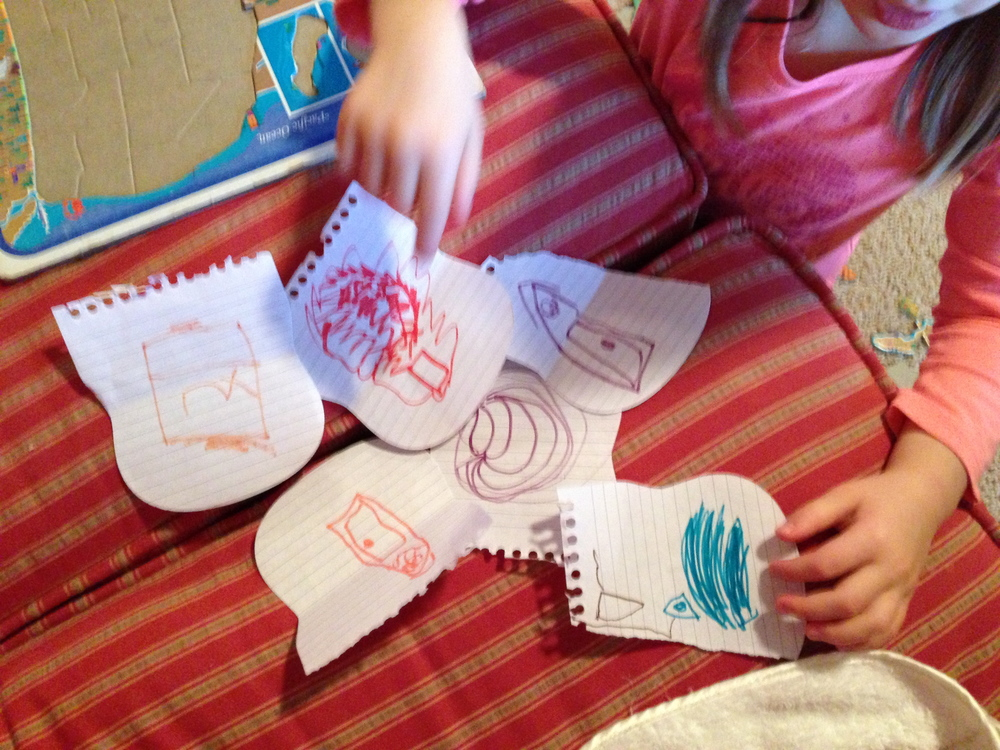 audrey loves having indoor treasure hunts these days, these are her pictures clues she hides for us.