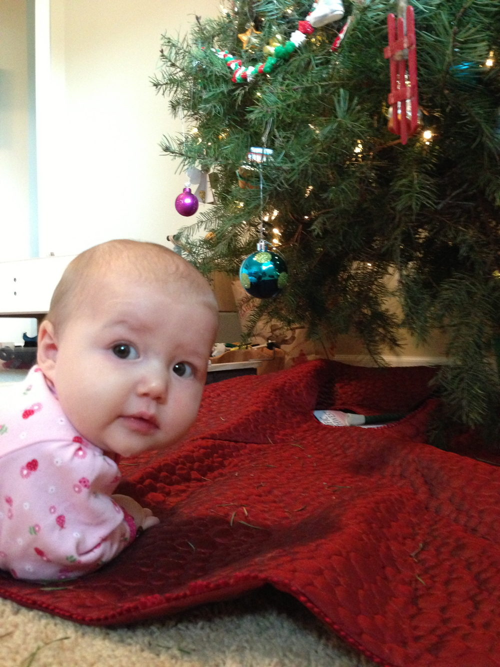 adeline has had her sights set on the blue ornament.