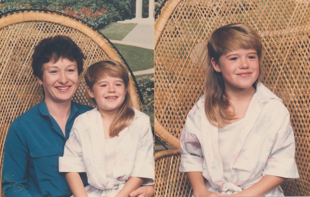 From then on she booked studio sessions at the local Olan Mills. The 80s were amazing, weren't they? It doesn't get better then a wicker chair and a girl mullet. I'm not sure if I like my hair or the fake garden backdrop more?