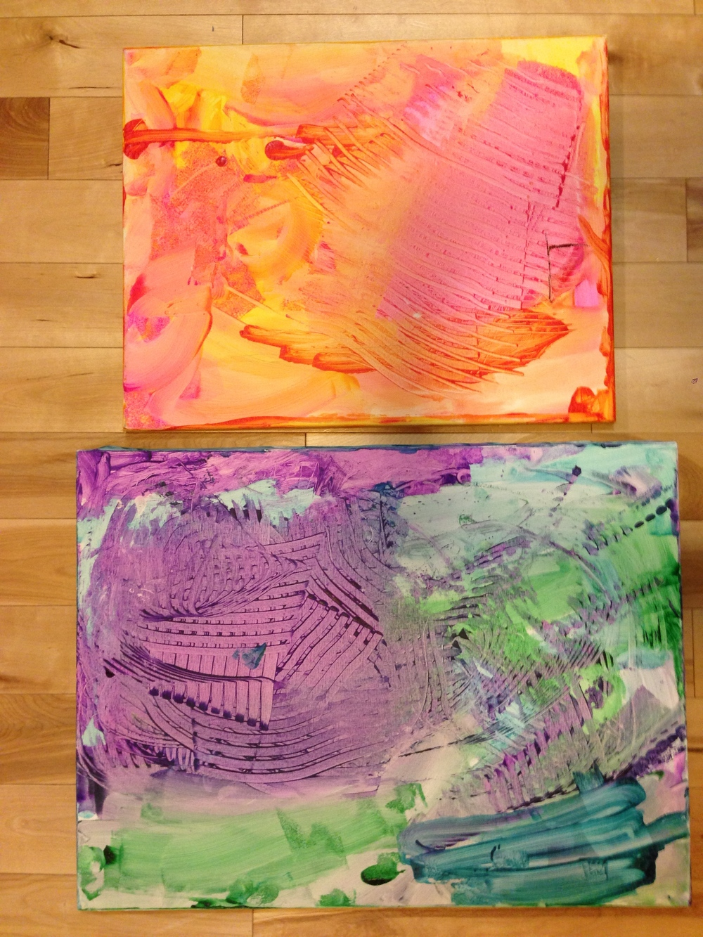 Mounted canvases.