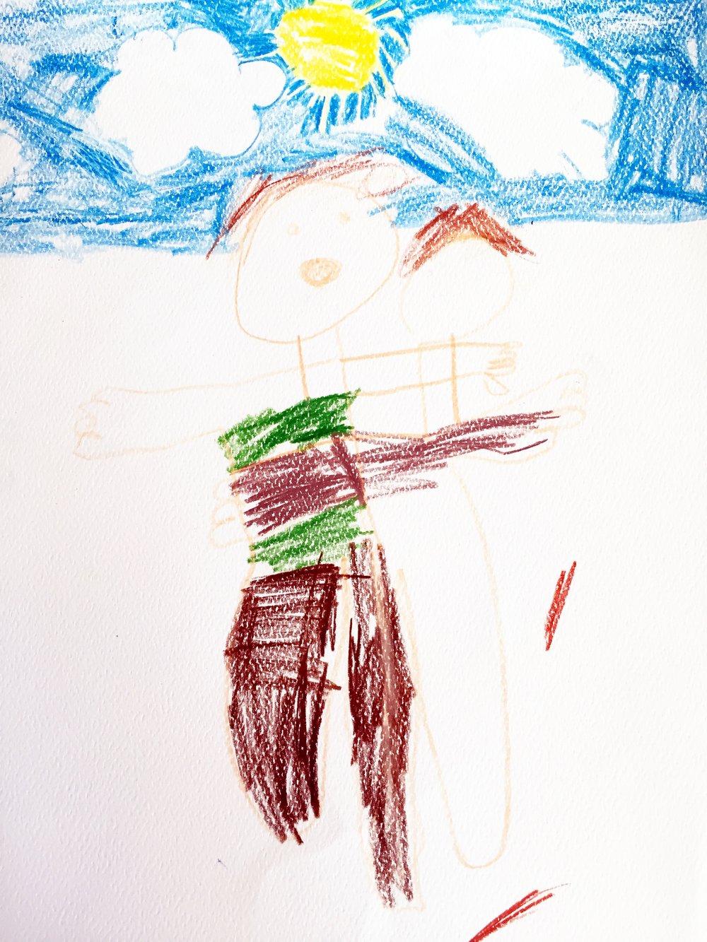 Self-portrait entitled: Hugging. Ben, age 6.   Cue my melting heart.