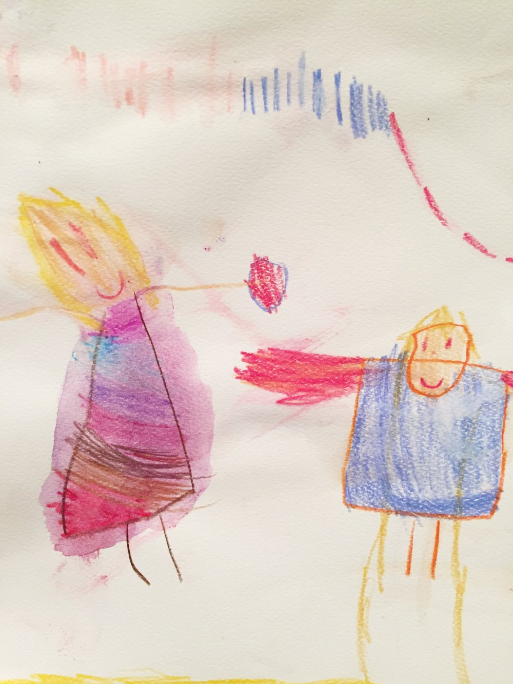 Self-portrait with Picasso and confetti. Adeline, age 4.