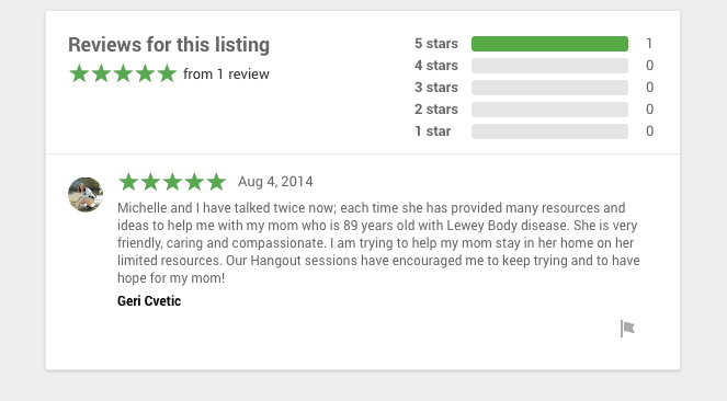 -- Before Google Helpouts shut down, Geri gave me the above review of my services on that platform.