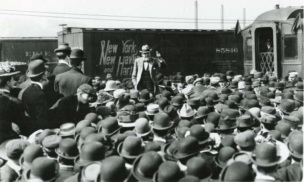 Eugene Debs speaks to a crowd of workers on the Presidential campaign trail in 1908