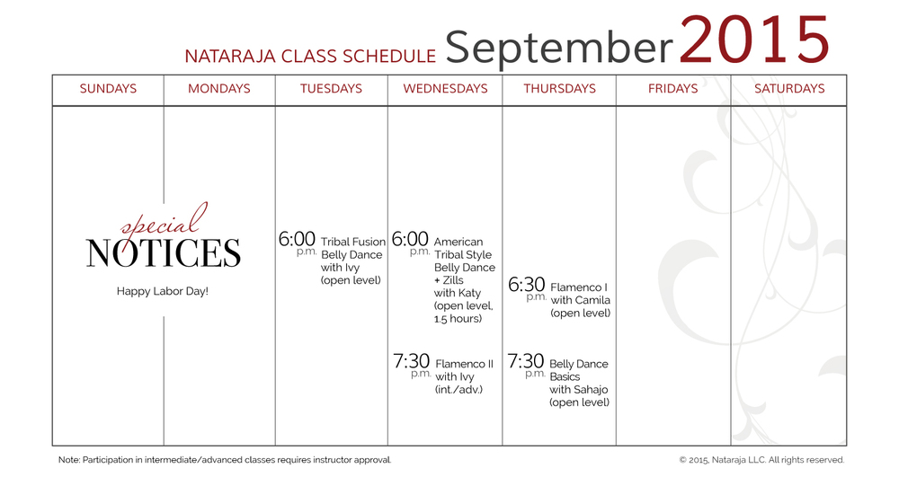 Dance and fitness class schedule at Nataraja Center for Movement Arts. Nataraja provides unique classes to the greater Capital Region: Clifton Park, Latham, Albany, Saratoga Springs, Troy, Ballston Spa, Mechanicville and Schenectady.