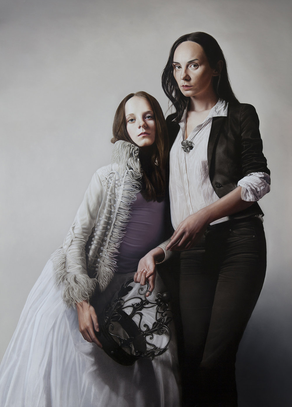 Legacy (Portrait of photographer Justyna Neyrng and daughter Nell) 50 x 36 inches Oil on Aluminium Panel  N/A