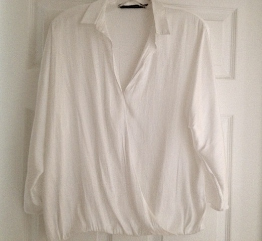 Zara White Crossover Blouse 32