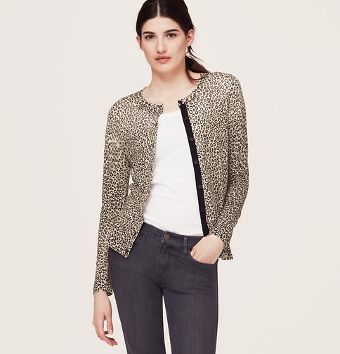 Loft Leopard Print Hidden Placket Cardigan