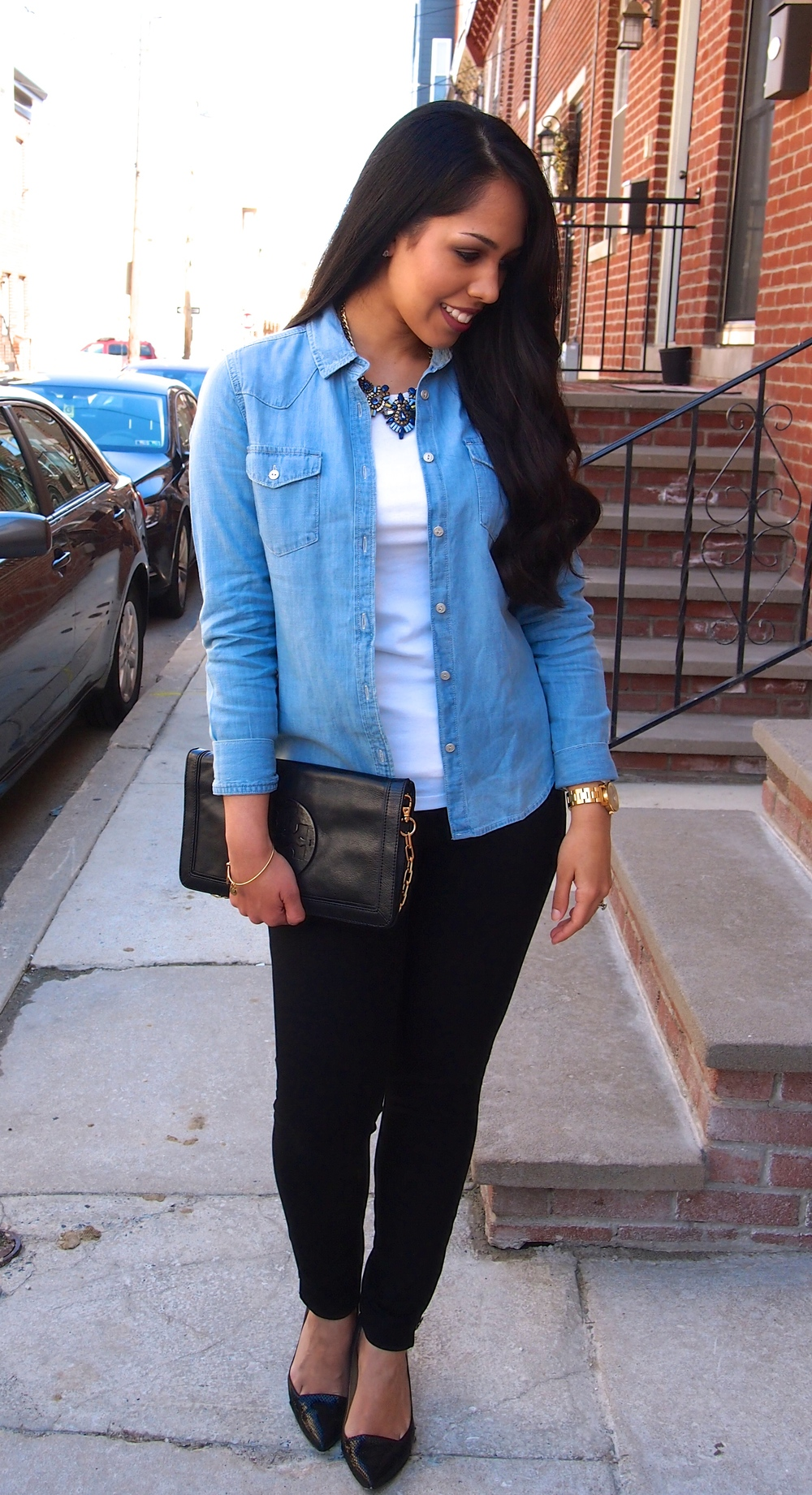 Chambray Shirt with Comfy Black Pants