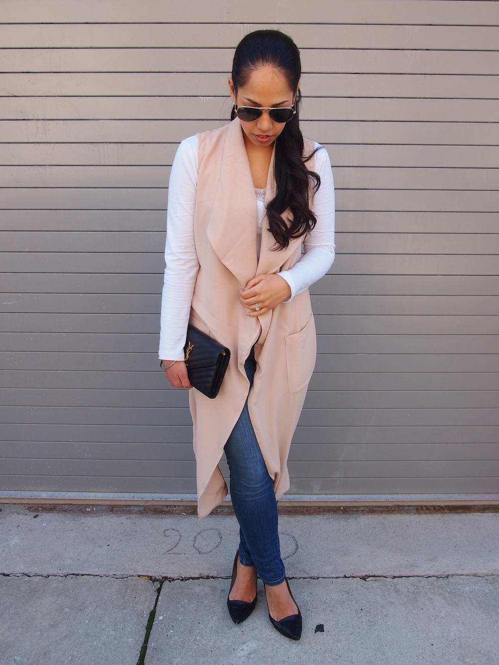 Pink Long Sleeveless Vest for Spring