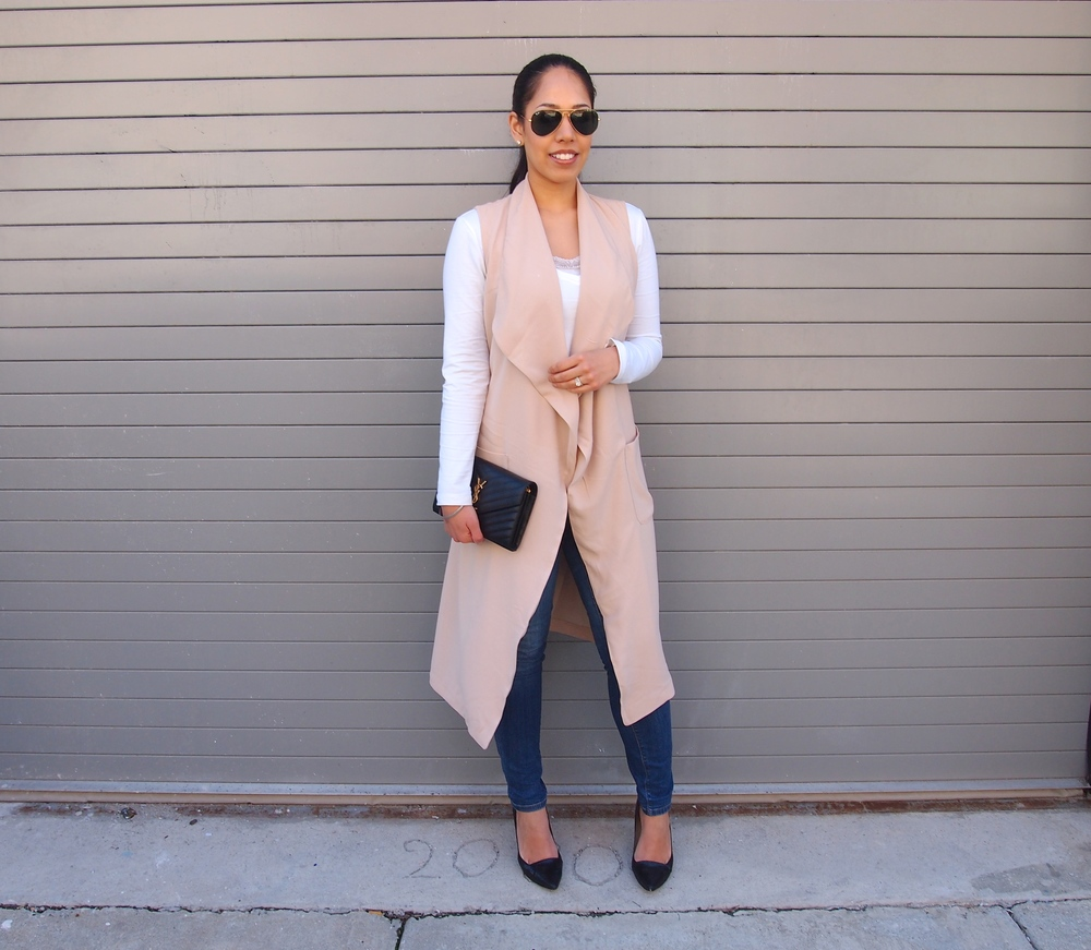 Pink Long Sleeveless Vest for Spring