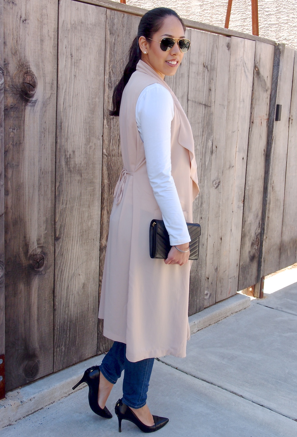 Pink Long Sleeveless Vest