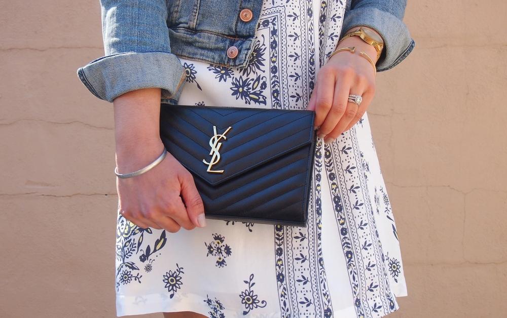 Floral LOFT Dress Spring Fashion YSL Handbag