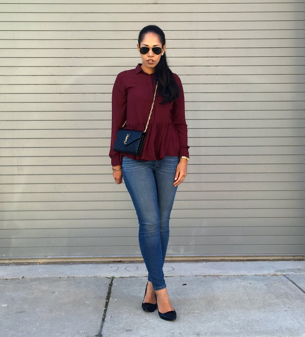 Burgundy Blouse Peplum