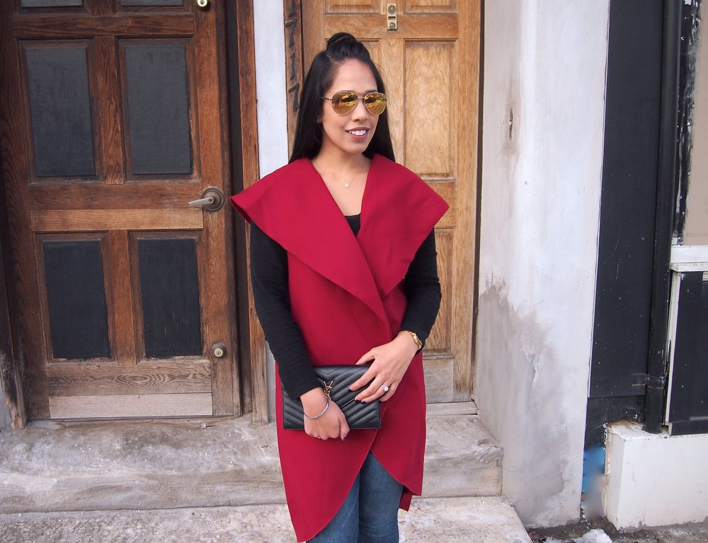red-affordable-shawl-collar-vest-SheIn