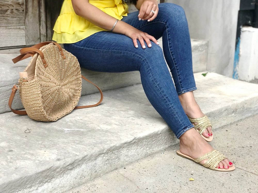 JustFab-gold-sandal-trend-straw-bag.JPG