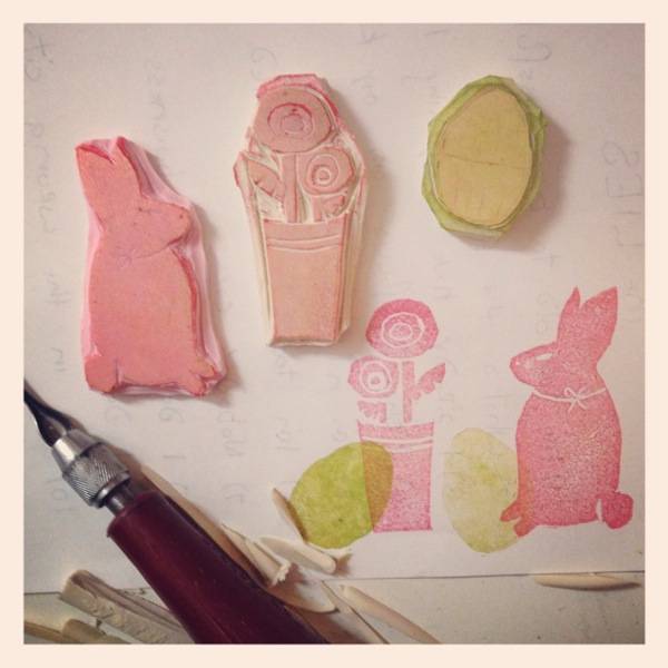 hand carved stamps on stamping material (the pink is the best) and firm drafting erasers