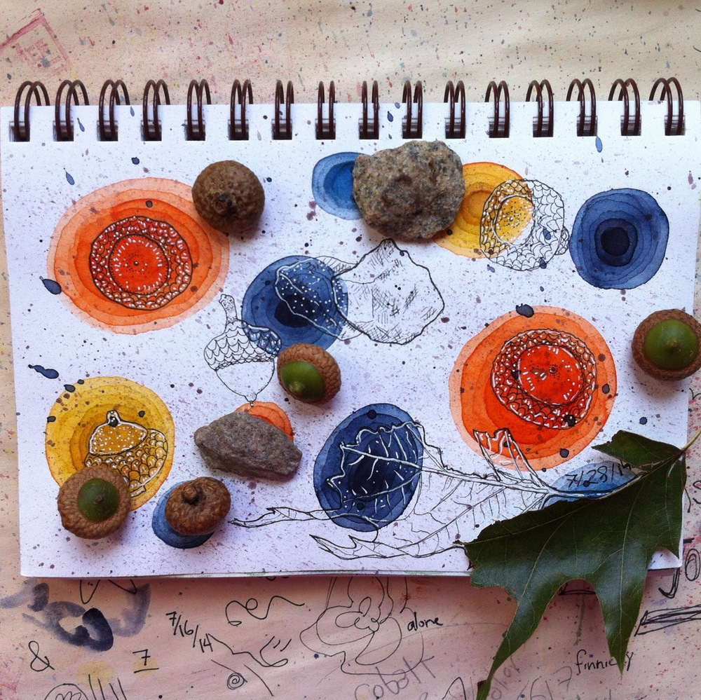 Bits of nature drawn in my studio after a day of activity.