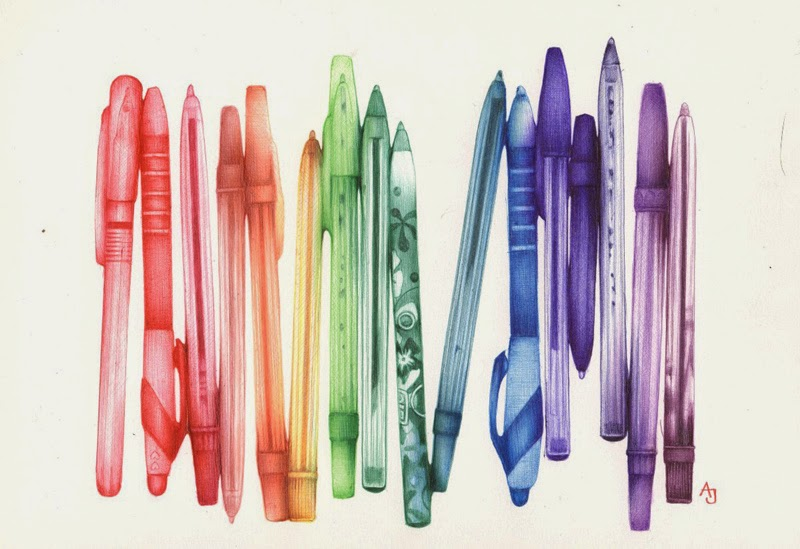Ball point pens drawn with ball point pens. I'm sure if I tried this I would end up with a smeared mess on my hands.