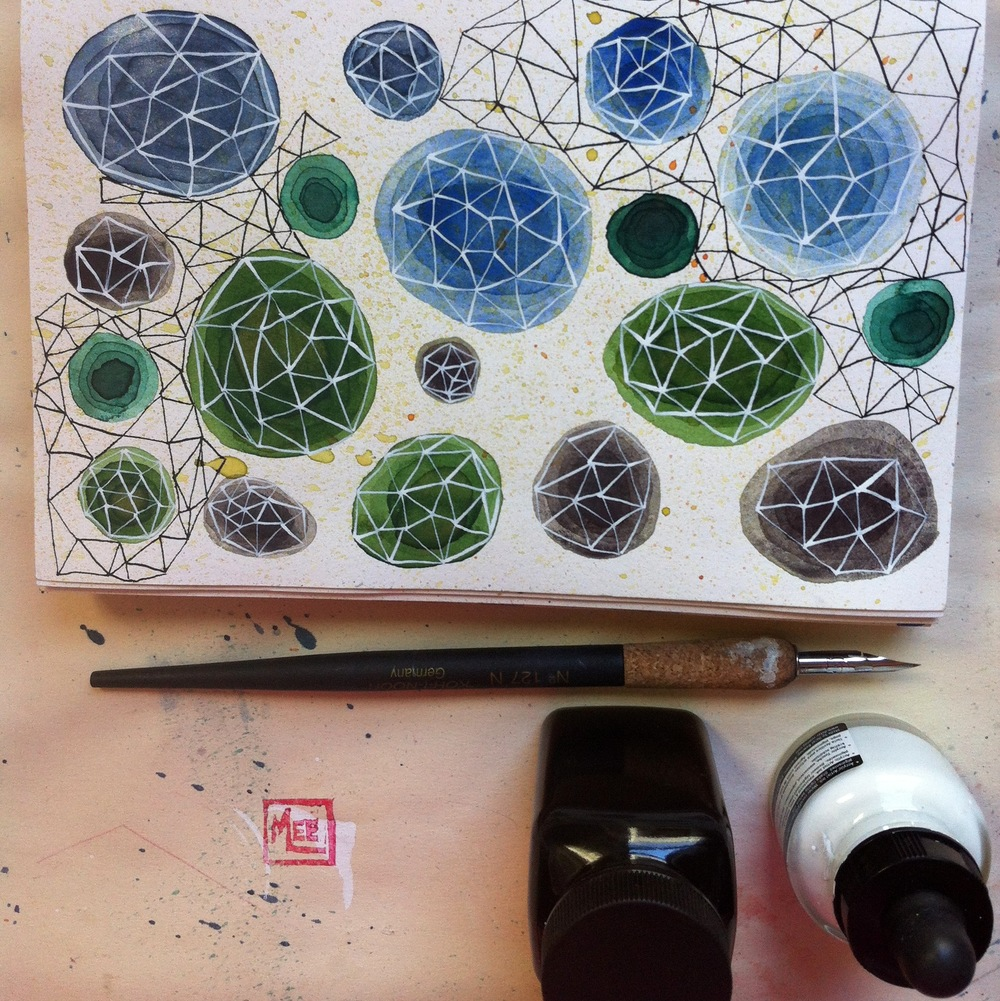 concentric circles, metallic shimmer and geometric doodling in my sketchbook.
