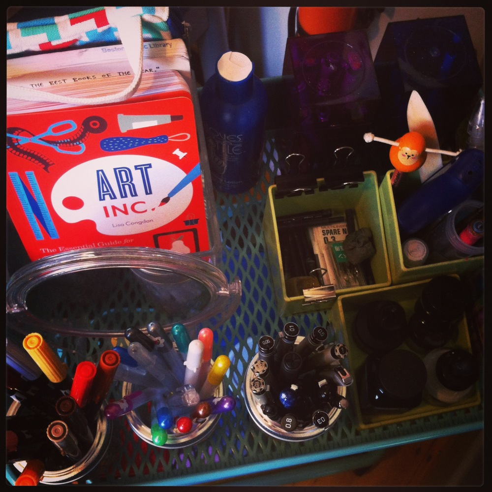 recently reorganized art cart from my recently reorganized and decluttered art studio.