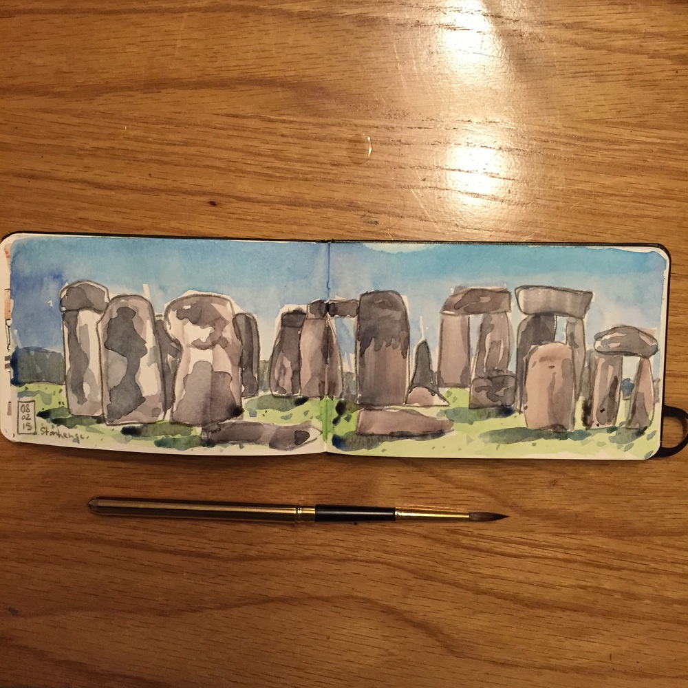 Stonehenge sketch. Watercolor and grey colored pencil in a pocket moleskine watercolor book.