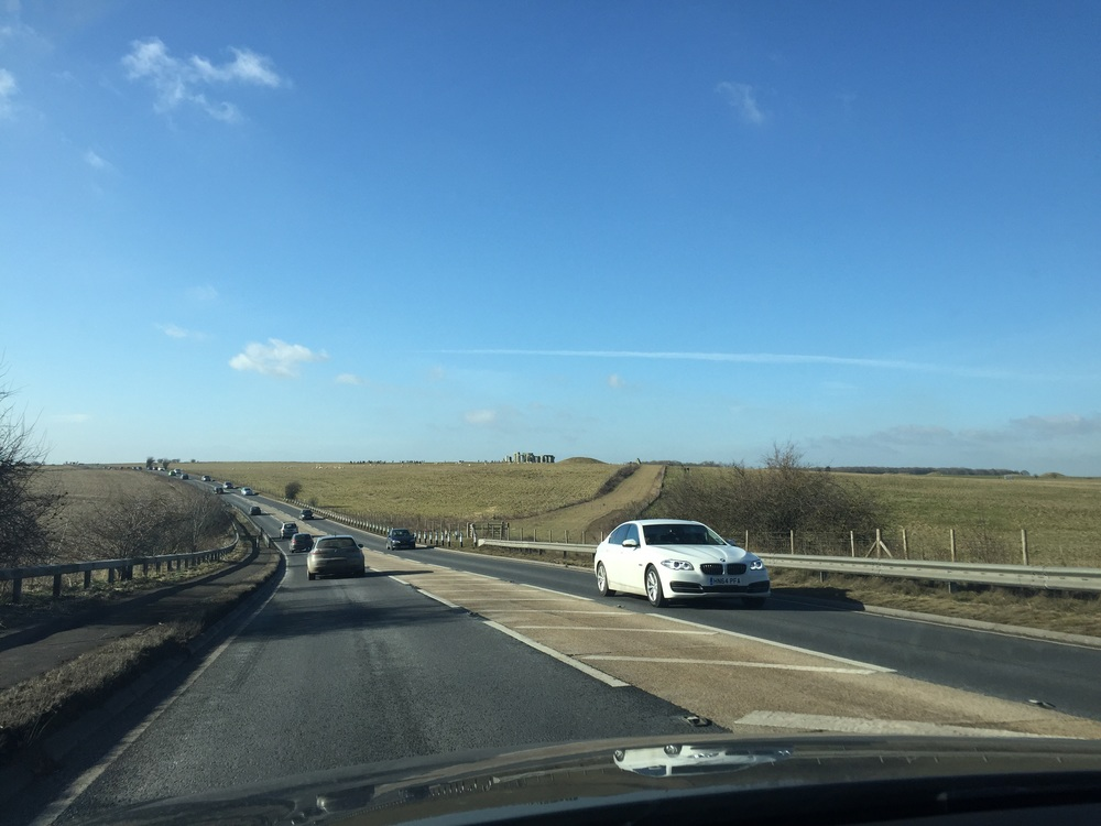Stonehenge surprises us as we drive on the highway.
