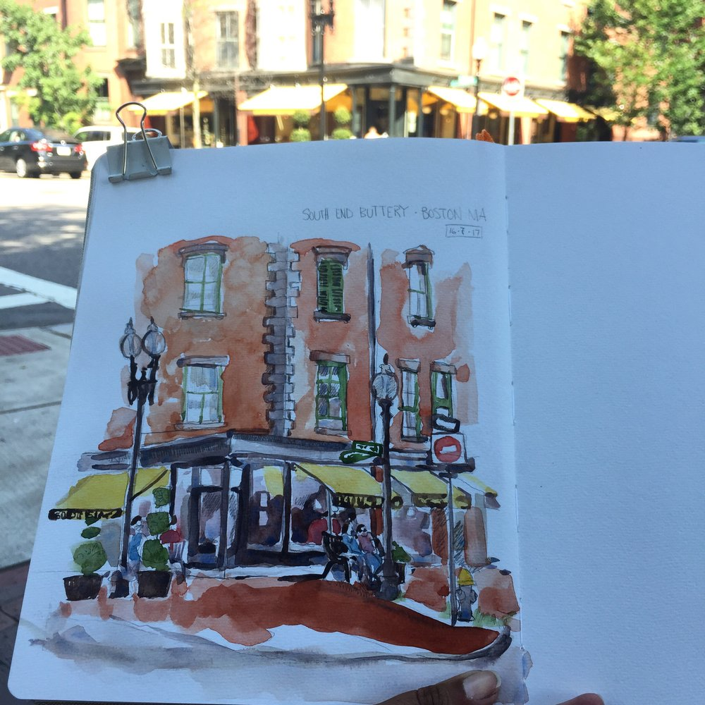 Sketching the Boston south end with the local Urban Sketching group.