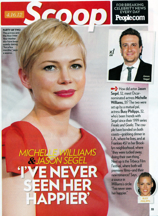 U.S. actress Michelle Williams in People Magazine