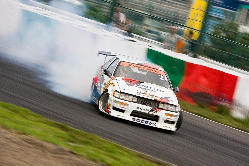 Hibino's SunRise AE86 during D1GP at Suzuka Circuit in Mie Prefecture, Japan.